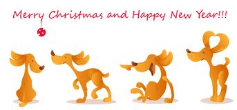 Vector set in cartoon style of a four cute yellow dogs isolated on the white background. Lettering Merry Christmas and Happy New Year Royalty Free Stock Photo