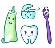 Vector set of cartoon toothpaste, toothbrush, floss and tooth. Funny characters kid`s oral hygiene vector illustration