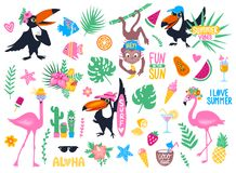 Vector set with cartoon tropical elements. Pink flamingo, toucan, monkey, palm leaves, exotic flowers, ice cream, watermelon, papaya, cactus. Hand drawn Royalty Free Stock Images