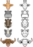 Vector set of cartoon wild or zoo animals. Royalty Free Stock Image