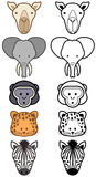 Vector set of cartoon wild or zoo animals. Stock Photo