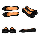 Vector Set of Cartoon Women Shoes. Variations Views of Ballet Flats. Vector Set of Cartoon Women Shoes. Variations Views of Black Ballet Flats Royalty Free Stock Images