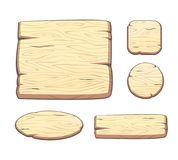Vector set with cartoon wooden buttons for game assets. Ui development. GUI elements royalty free illustration
