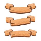 Vector set with cartoon wooden ribbons for game assets. Ui development. GUI banners vector illustration