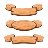 Vector set with cartoon wooden ribbons for game assets. Ui development. GUI banners royalty free illustration
