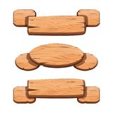 Vector set with cartoon wooden ribbons for game assets. Ui development. GUI banners stock illustration