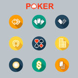 Vector set of casino icons long shadow Stock Photography