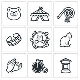 Vector Set of Cat Circus Icons. Cat, Circus, Training, Accessories View Jumping Animal Hands Transport Announcement Royalty Free Stock Image