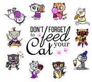 Vector set with cat stickers. Hungry pets. Emoji for chats. Royalty Free Stock Images