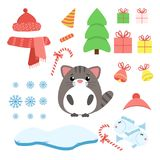 Vector set of cat with xmas staff: lollipop, gifts, tree,. Iceberg, hat and scarf, fish and bells. Cartoon illustration Stock Images