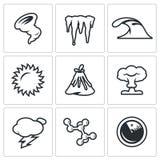 Vector Set of Cataclysm Icons. Hurricane, Icicles, Wave, Sun Volcanoe Nuclear Explosion Lightning Bacteria Radar Stock Photos