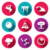 Vector Set of Cataclysm Icons. Tornado, Frost, Tsunami, Drought, Eruption, War, Weather, Virus, Earthquake. Royalty Free Stock Image