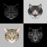 Vector set cats low poly design. Triangle cat icon illustration for tattoo, coloring, wallpaper and printing on t-shirts Royalty Free Stock Photography