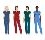 Female doctors in different poses vector illustration
