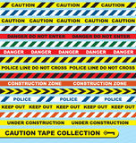 Vector Set: Caution Tape Labels. Collection of warning tape for caution, construction and police departments Stock Photo