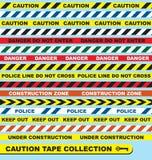 Vector Set: Caution Tape Labels Stock Photo