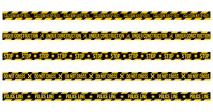 vector set of caution tapes on whit e background. Illustration consists of Caution keep out , Do not cross , Police Line Under royalty free illustration