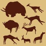 Vector Set of Cave Painting Animals. Mammoth, Deers, Horse and Ox. Vector Set of Cave Painting Animals. Primitive Art Illustrations stock illustration
