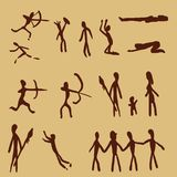Vector Set of Cave Painting People. Primitive Art Illustrations. Hunting and Ritual Scenes royalty free illustration