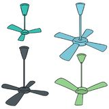 Vector set of ceiling fan. Hand drawn cartoon, doodle illustration royalty free illustration