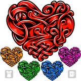 Vector set of celtic pattern in the shape of heart Stock Photo