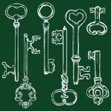 Vector Set of Chalk Antique Keys. Stock Photos