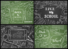 Vector set of chalk Back to School backgrounds. Royalty Free Stock Photography