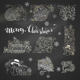 Vector set of chalk Christmas design elements on blackboard background. Stock Photography
