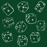 Vector Set of Chalk Dices. On Dark Green Background Royalty Free Stock Photography