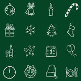 Vector Set of Chalk Doodle Christmas and New Year Icons. Vector set of Chalk Doodle Sketch Icons Stock Photography