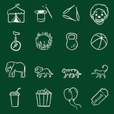 Vector Set of Chalk Doodle Circus Icons Royalty Free Stock Images