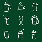 Vector Set of Chalk Doodle Drinks Icons. stock illustration