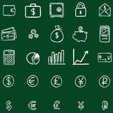 Vector Set Of Chalk Doodle Finance Icons Royalty Free Stock Images