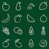 Vector Set of Chalk Doodle Fruits Icons. Royalty Free Stock Photos
