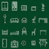 Vector Set Of Chalk Doodle Furniture Icons Royalty Free Stock Photos