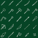Vector Set of Chalk Doodle Medieval Weapon Icons Royalty Free Stock Image