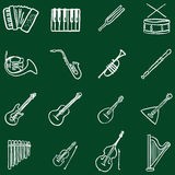 Vector Set of Chalk Doodle Musical Instruments Icons Royalty Free Stock Images