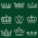 Vector Set of Chalk Doodle Royal Crown Icons Royalty Free Stock Images