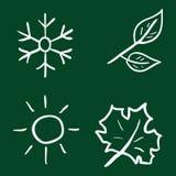 Vector Set of Chalk Doodle Season Icons Stock Photo