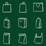 Vector Set of Chalk Doodle Shopping Bags Icons Royalty Free Stock Images