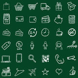 Vector Set Of Chalk Doodle Shopping Icons Stock Image