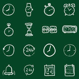 Vector Set of Chalk Doodle Time Icons Stock Photo