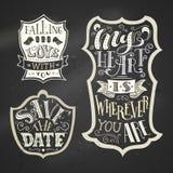 Vector set of chalk love badges on blackboard background. Royalty Free Stock Images