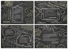 Vector set of chalk office workplace / education backgrounds. stock illustration