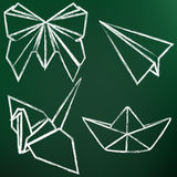 Vector Set of Chalk Origami Art. Butterfly, Plane, Crane, Ship. Stock Image