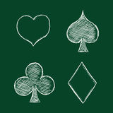 Vector Set of Chalk Playing Cards Suits Signs Stock Photography
