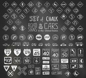 Vector set of chalk road signs in the United States and vehicles. Royalty Free Stock Images