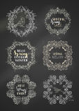 Vector set of chalk spring frames on blackboard background. Royalty Free Stock Photography