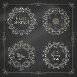 Vector set of chalk spring frames and ornaments. Stock Photography