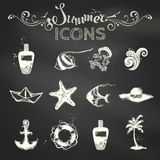 Vector set of chalk summer icons. Royalty Free Stock Images